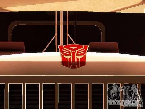 Truck Optimus Prime v2.0 für GTA San Andreas Seitenansicht
