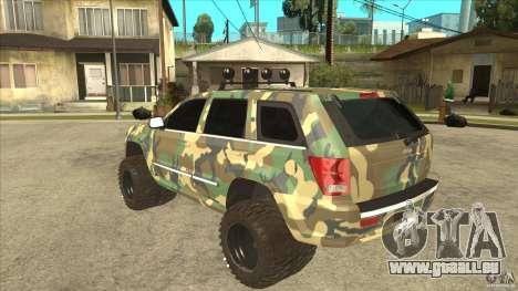Jeep Grand Cherokee SRT8 Camo pour GTA San Andreas sur la vue arrière gauche