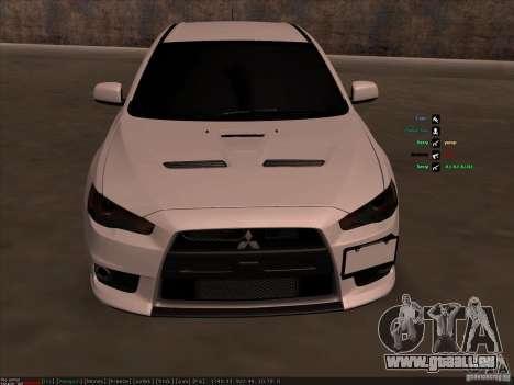 Mitsubishi Lancer Evolution X pour GTA San Andreas vue intérieure