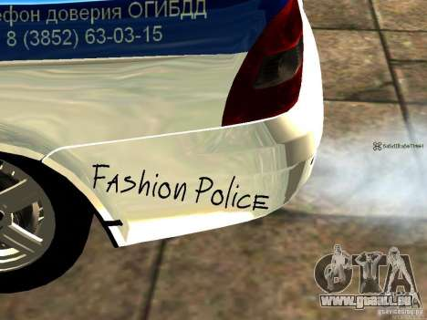LADA 2170 Police pour GTA San Andreas sur la vue arrière gauche