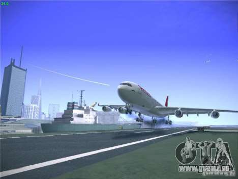 Airbus A340-300 Swiss International Airlines pour GTA San Andreas vue de dessus