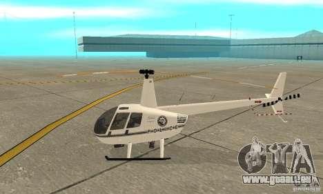 Robinson R44 Raven II NC 1.0 blanc pour GTA San Andreas sur la vue arrière gauche