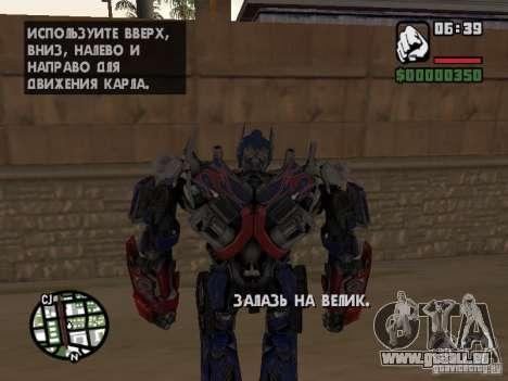 Optimus Prime pour GTA San Andreas cinquième écran