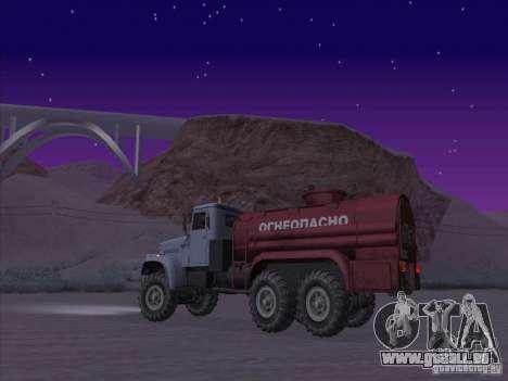 Camion KrAZ-255 carburant pour GTA San Andreas laissé vue