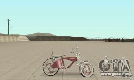 Lowrider Bicycle Custom Version pour GTA San Andreas sur la vue arrière gauche