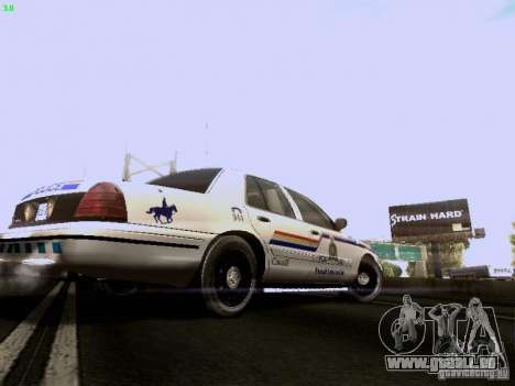 Ford Crown Victoria Canadian Mounted Police pour GTA San Andreas vue de droite