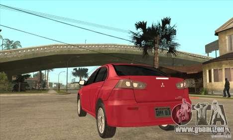 Mitsubishi Lancer pour GTA San Andreas sur la vue arrière gauche