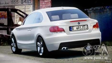BMW 135i Coupe 2009 [Final] pour GTA 4 Vue arrière de la gauche