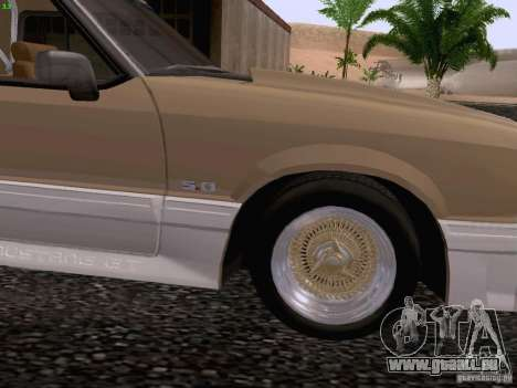 Ford Mustang GT 5.0 Convertible 1987 pour GTA San Andreas vue arrière