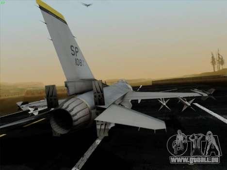 F-16C Warwolf pour GTA San Andreas sur la vue arrière gauche