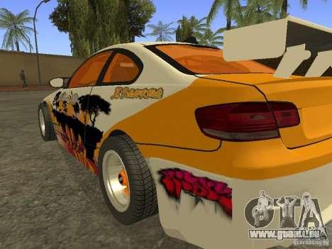 BMW M3 E92 DriftRoots pour GTA San Andreas laissé vue