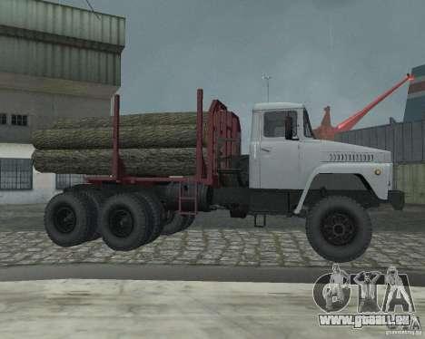 Transporteur de bois KrAZ-255 pour GTA San Andreas vue arrière