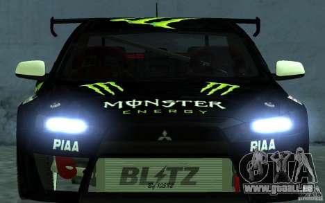 Mitsubishi Lancer Evolution X Monster Energy für GTA San Andreas rechten Ansicht