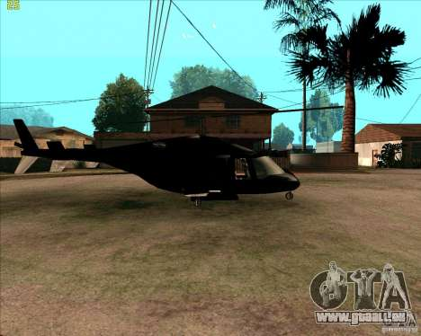 Airwolf pour GTA San Andreas sur la vue arrière gauche