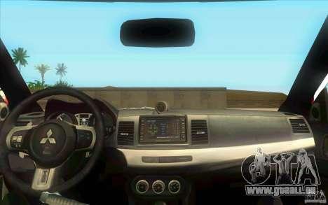 Mitsubishi Lancer Evolution X MR1 pour GTA San Andreas vue de droite
