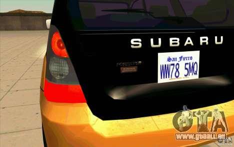 Subaru Forester Cross Sport 2005 pour GTA San Andreas vue intérieure