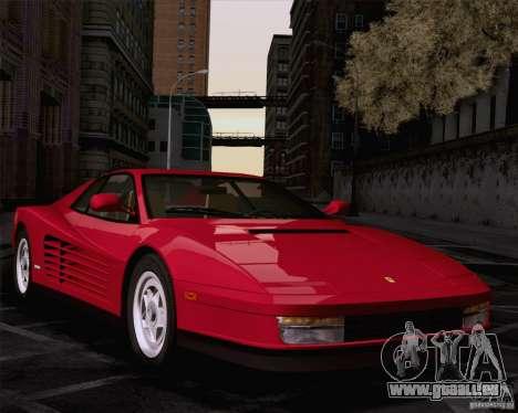 Ferrari Testarossa 1986 für GTA San Andreas zurück linke Ansicht