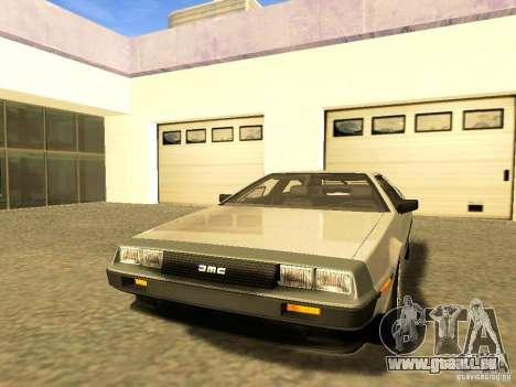 DeLorean DMC-12 V8 pour GTA San Andreas vue de dessus
