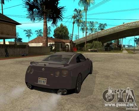 2008 Nissan GTR R35 pour GTA San Andreas sur la vue arrière gauche