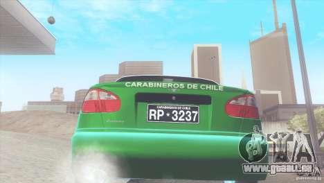 Daewoo Lanos De Carabineros De Chile pour GTA San Andreas vue de droite