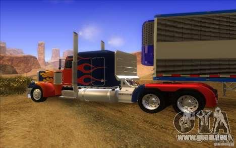 Truck Optimus Prime v2.0 für GTA San Andreas Rückansicht