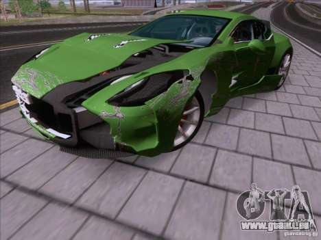Aston Martin One-77 2010 pour GTA San Andreas vue de dessus