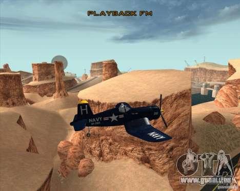 Aereo Corsair F4U1D für GTA San Andreas Innenansicht