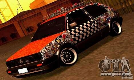 Volkswagen MK II GTI Rat Style Edition für GTA San Andreas zurück linke Ansicht