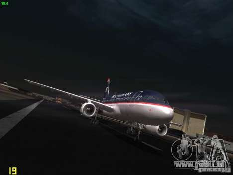 Airbus A319 USAirways pour GTA San Andreas vue arrière