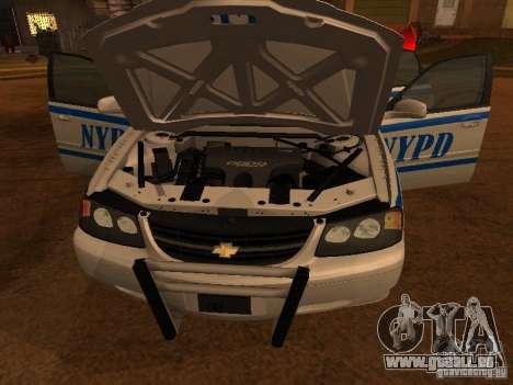 Chevrolet Impala Police 2003 für GTA San Andreas zurück linke Ansicht