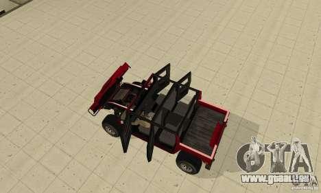 Hummer Civilian Vehicle 1986 für GTA San Andreas Rückansicht