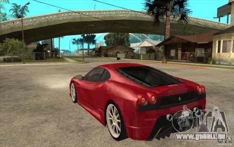Ferrari F430 Scuderia pour GTA San Andreas sur la vue arrière gauche