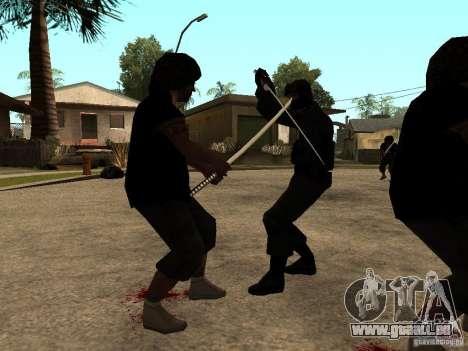 La lutte avec les katanas sur Grove Street pour GTA San Andreas troisième écran