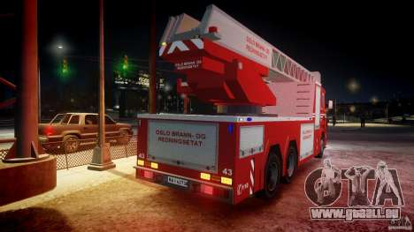 Scania Fire Ladder v1.1 Emerglights blue-red ELS pour GTA 4 roues