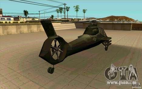 Sikorsky RAH-66 Comanche stealth green für GTA San Andreas Rückansicht