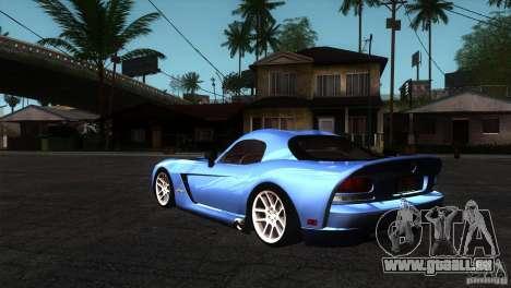 Dodge Viper SRT10 Stock pour GTA San Andreas sur la vue arrière gauche
