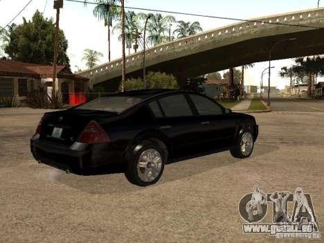 Nissan Teana für GTA San Andreas Rückansicht