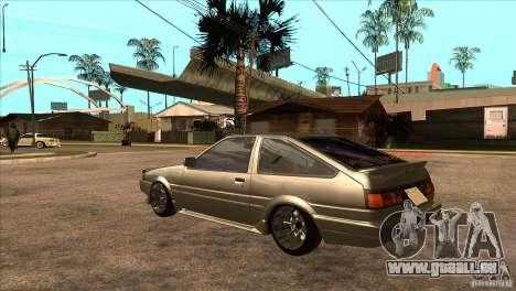 Toyota AE86 JDM für GTA San Andreas zurück linke Ansicht