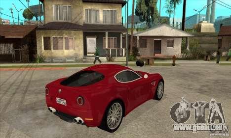 Alfa Romeo 8 c Competizione stock pour GTA San Andreas vue arrière