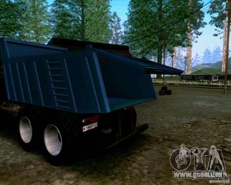 Camion à benne basculante KAMAZ 6520 pour GTA San Andreas vue intérieure