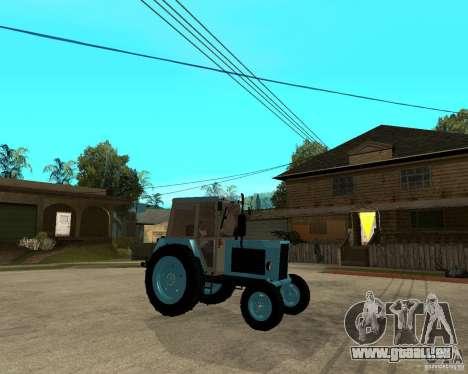 Tracteur Belarus 80,1 et remorque pour GTA San Andreas vue de droite