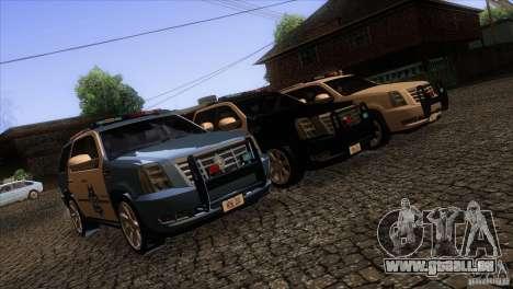 Cadillac Escalade 2007 Cop Car pour GTA San Andreas vue de côté