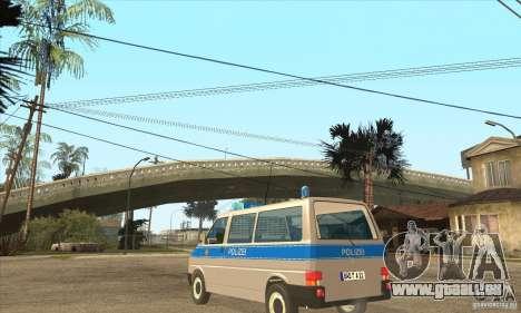 Volkswagen Transporter T4 German Police für GTA San Andreas zurück linke Ansicht