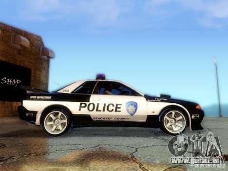 Nissan Skyline R32 Police pour GTA San Andreas sur la vue arrière gauche