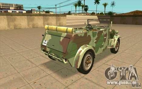 Kuebelwagen pour GTA San Andreas sur la vue arrière gauche