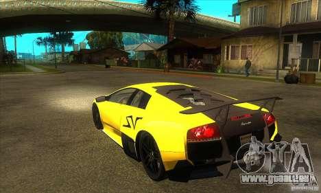 Lamborghini Murcielago LP 670 SV pour GTA San Andreas sur la vue arrière gauche