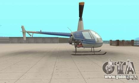 Robinson R22 pour GTA San Andreas sur la vue arrière gauche