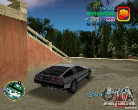 DeLorean DMC 12 pour GTA Vice City sur la vue arrière gauche