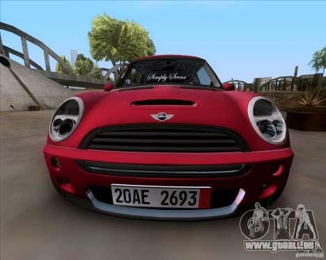 Mini Cooper S Euro pour GTA San Andreas sur la vue arrière gauche