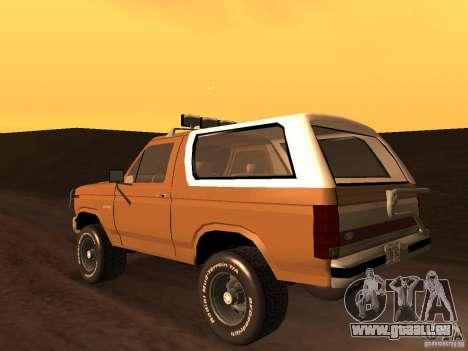 Ford Bronco 1985 pour GTA San Andreas laissé vue